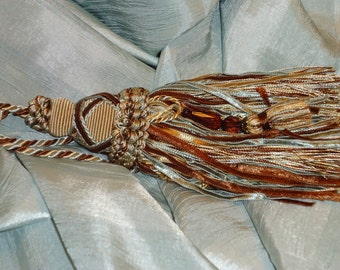 Designer 6 inch Key or Armoire Tassel, Silver Blue, Rust & Beige and  Beaded