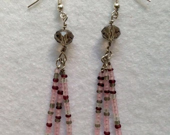 Pink beige and gray bead earrings