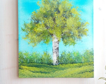 Original Oil Painting, Green Tree And Blue Sky