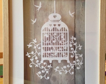 Paper cut birdcage, boxframed, ideal new home gift.