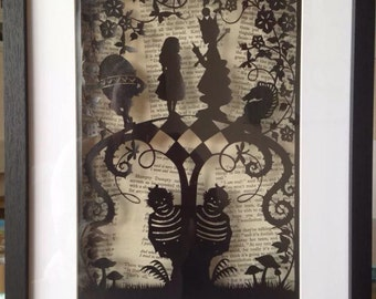 Paper Cut, Alice In Wonderland, Through The Looking Glass, Boxframed.