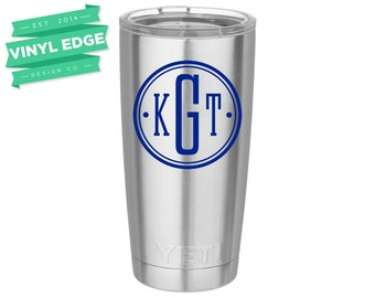 Modern Monogram Decal - Circle Monogram Decal - Yeti Monogram Decal - Yeti Tumbler Custom Decal - Yeti Rambler Monogram Decal [MON0006]