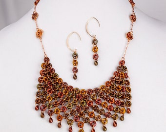 Charming Chainmaille Statement Necklace and Earrings