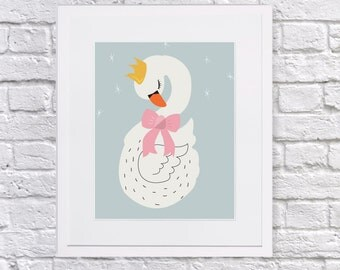 The Princess Swan Art Print, Swan art print for little girls room. Little girls gallery wall, art print.