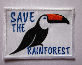 Save the Rainforest Protection agains Extinction Iron or Sew On Patch