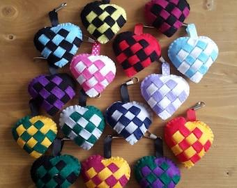 Checkered Heart Plush Key Ring
