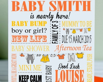 Personalised nearly here! Baby shower card