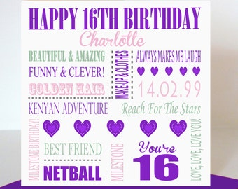 Personalised 16th Birthday Card For Her