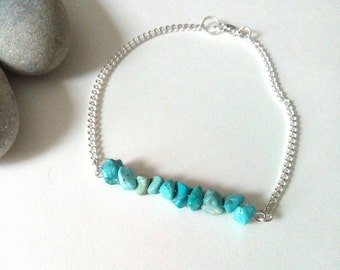 Turquoise Silver Bracelet, Turquoise Jewellery, Gemstone Jewelry, Blue Turquoise, December Birthstone, Sterling Silver