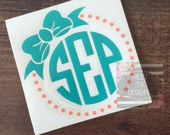 Monogrammed Decal | Personalized |Bow Monogram | Circle Monogram | Laptop Monogram | Car Monogram | Tumbler Monogram | Notebook Monogram