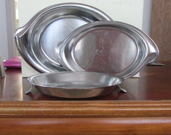 Vintage Set Of Three Stainless Steel Serving Dishes
