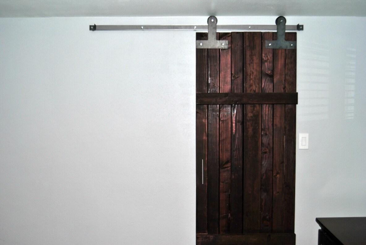Sliding barn door hardware kit t strap style with track door for Cheap sliding barn doors