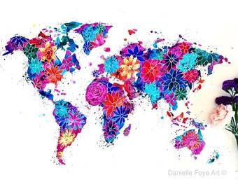 Flower World Map (A3 Print)