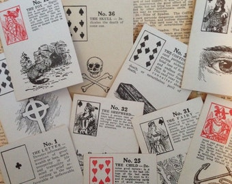 Vintage 1940s Fortune Telling Gypsy Cards NOS Astrology Tarot Antique Illustrated Occult