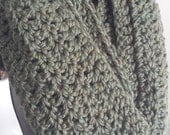 Olive Green Super Long Crochet Infinity Scarf Handmade Acrylic Wool Blend