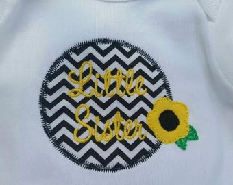 Little Sister Chevron and Floral T Bodysuit - Applique- Darling Gift!