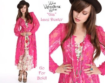 Pink Lace Duster Jacket