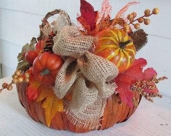 Fall Basket, Thanksgiving Basket, Autumn Basket, Harvest Basket, Pumpkin Basket, Thanksgiving Décor, Fall Décor, Autumn Décor
