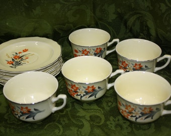 WS George Canarytone LIDO Cups And Saucers Set of 11 Orange Flowers