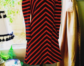 Vintage Gay Gibson Long Sleeved Stretch Orange and Black Striped Dress