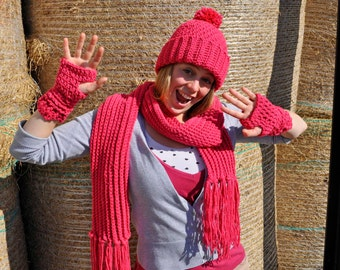 Set of Pink Crochet Hat, Scarf and Handwarmers
