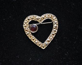 Three Vintage Heart Brooches