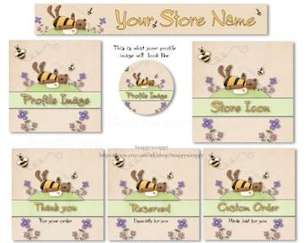 Etsy Shop Banner Set, Banner Sets, Premade Banner Sets, Customizable Banner Sets, Digital Graphics, Shop Set, Honey Bear