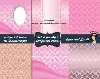 Pink Satin Damask Background Papers, Digital Scrapbooking,  Scrap Kit Paper Set, CU4CU, CU