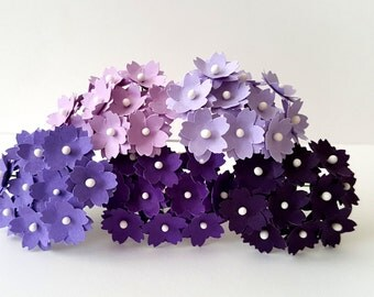 Small purple paper flowers / lilac paper flowers / violet paper flowers / lavender paper flowers