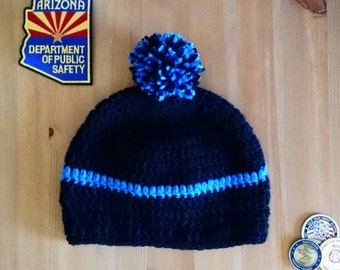 Thin Blue Line Hat, Law Enforcement, Police Hat, Crochet Hat, LEO Family, TBL Hat, Blue Lives Matter, Support Law Enforcement