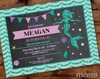 Mermaid Birthday Invitations ANY age Pool Party Invite Girls Mint Teal Chalk INSTANT DOWNLOAD Little Glitter Sea Digital Editable Printable
