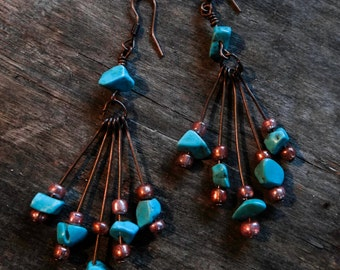 Sea Gypsy Turquoise and Copper Wanderlust Bohemian Chic Earrings