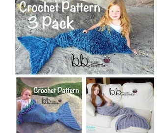Mermaid Tail Blanket Three Pack - PATTERN ONLY - Crochet - Size: Toddler, Child & Adult