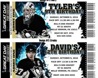 Printable Birthday Party Invitation Card Pittsburgh Penguins Birthday Ticket Invitation NHL Hockey Weddings Baby Showers Bar Mitzvahs