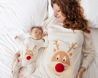Christmas pyjamas mum and baby with hand sewn pom pom nose