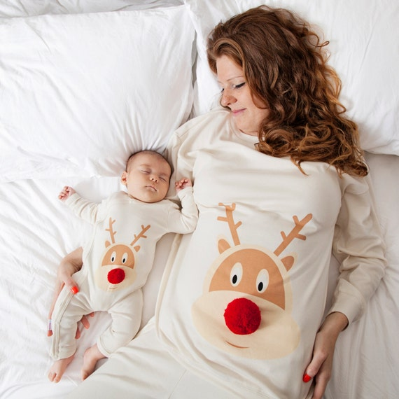 Mum and baby matching Christmas pyjamas hand sewn pom pom nose