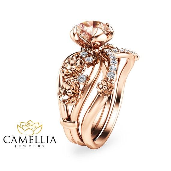 unique morganite engagement ring set floral 14k by
