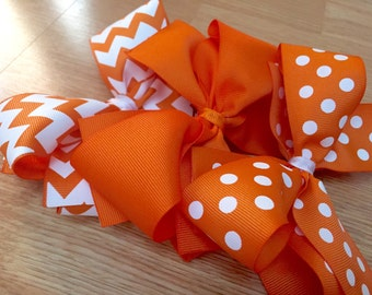 University of Tennessee Hair Bows, Bows, Hair Accessories, Baby Girl Bows, Orange and White, UT Vols, Orange Bows