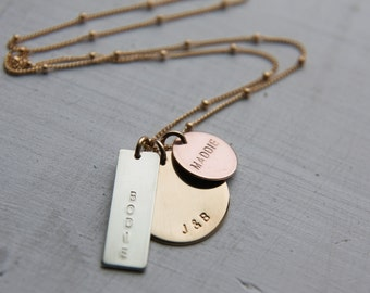 Mixed Metal Family Necklace, Gold Rose Gold Sterling Silver Mom Necklace, Hand Stamped Personalized 3 Charm Necklace, Engraved Kids Names