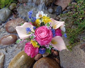 Bright spring cemetery flowers-READY TO SHIP