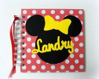 Minnie Mouse Inspired Disney Autograph Book Scrapbook for Vacation or cruise Photo Album
