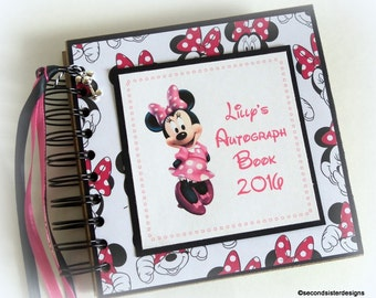 Pink Minnie! Custom PERSONALIZED  Disney Autograph Book Scrapbook Travel Journal Vacation Photo Book