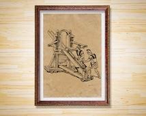 Medieval weapon decor Ballista print Soldier poster