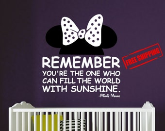 """Minnie Mouse You can Fill the world with sunshine, FREE SHIPPING to USA, Disney wall decal, 22"""" Tall x 24"""" Wide"""