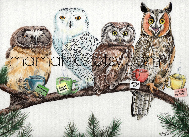 tea owls funny kitchen wall art print illustration wall