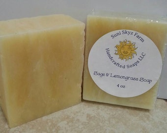 Sage and Lemongrass Soap - Dalmation Sage Soap - Lemongrass and Sage Soap - Handcrafted Sage and Lemongrass Soap