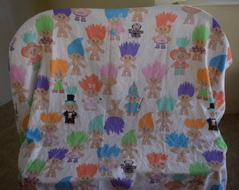 Vintage 1992 Treasure Trolls Fitted Bed Sheet Fabric
