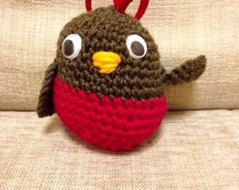 Robin Xmas Tree Decoration Hand Crocheted