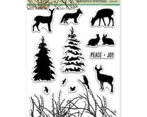 Penny Black Natures Friends Clear Cling Stamps, Winter Cling Stamps, Christmas Card Making Stamps, Penny Black Holiday Stamps, Scrapbooking