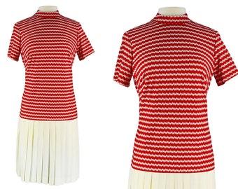 Vintage Dress, 1960s Dress, 60s Dress, Red Mod Dress, 60s Mod Dress, Pleated Scooter Dress, Scooter Dress, Drop Waist, Pleated Skirt, Medium
